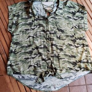 Camoflauge Blouse with Tie Front Criss cross back